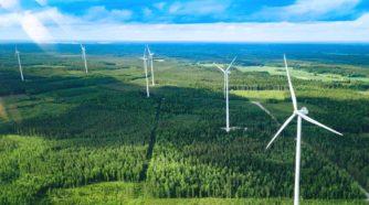Tuulipuisto metsäisellä alueella